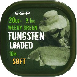Поводковый материал E-S-P TUNGSTEN LOADED - SOFT - Weedy Green / 20lb / 10m