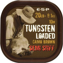 Поводковый материал E-S-P TUNGSTEN LOADED - SEMI STIFF - Camo Brown / 20lb / 10m