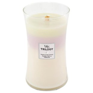 Свеча WoodWick Trilogy Terrace Blossoms (Fig Leaf & Tuberose, Wild Violet, Magnolia) (93973), большая