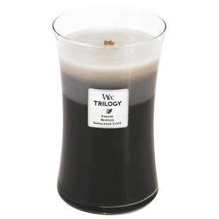 Свеча WoodWick Trilogy Warm Woods (Fireside, Redwood, Sandalwood Clove) (93911), большая